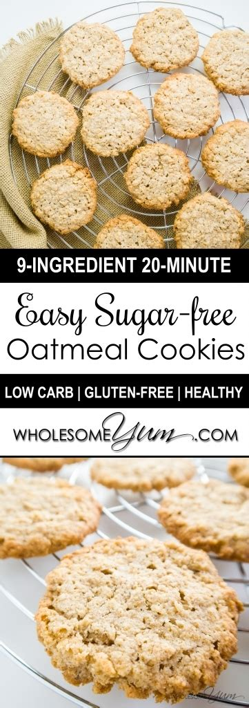 Combine oats, oat flour, cinnamon, baking soda and salt in a large bowl. Sugar-free Oatmeal Cookies (Low Carb, Gluten-free)