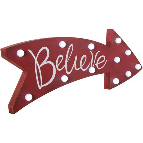 light up sign 16 quot believe light up marquee arrow sign 65325