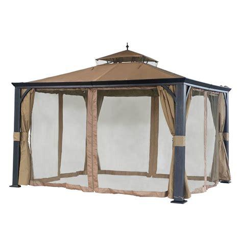 home depot gazebo sunjoy monaco 10 ft x 12 ft beige steel soft top gazebo