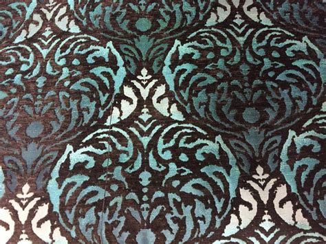 Teal And Brown Upholstery Fabric by Fibre Naturelle Safari Damask Brown Teal Chenille
