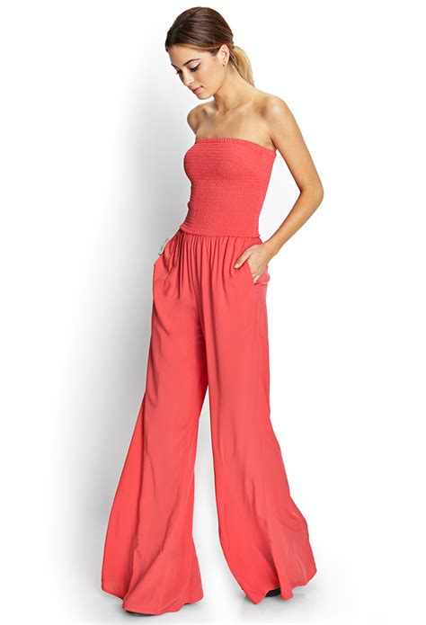 flared jumpsuit forever 21 retro doll flared jumpsuit in pink lyst