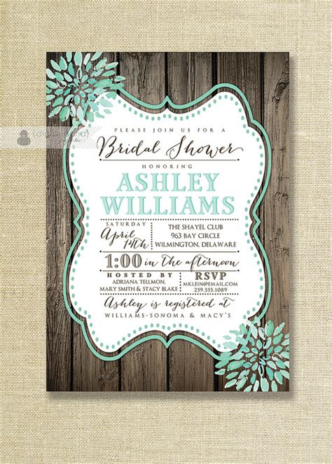 cheap shabby chic wedding invitations aqua teal bloom bridal shower invitation rustic wood shabby chic distressed mint wedding free
