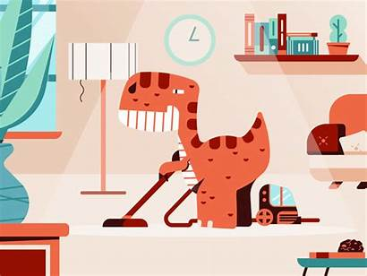 Cleaning Hoover Dyno Tidying Dribbble Animation Living