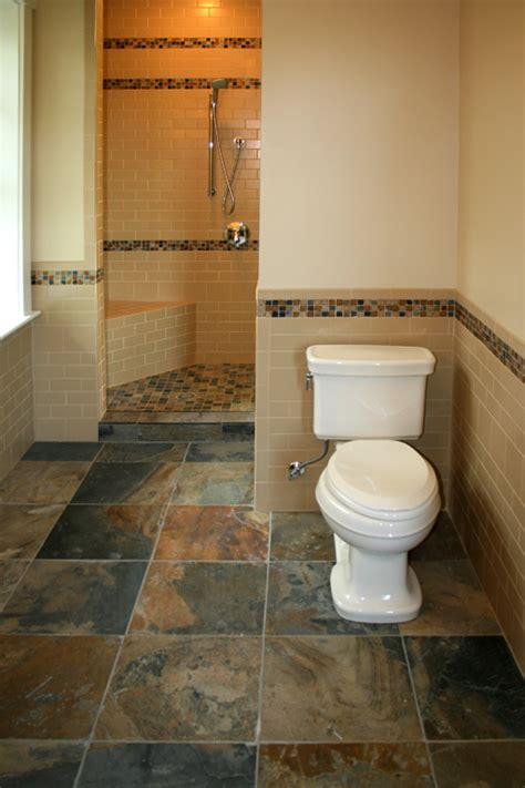 Slate Tile Floor And Half Wall Tiles With Border Home