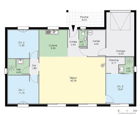 plan de maison plain pied 2 chambres et garage maison de plain pied dé du plan de maison de
