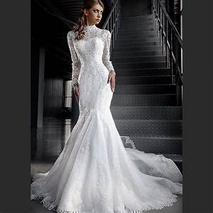 high neck lace long sleeve modest wedding dresses mermaid With long sleeve modest wedding dresses
