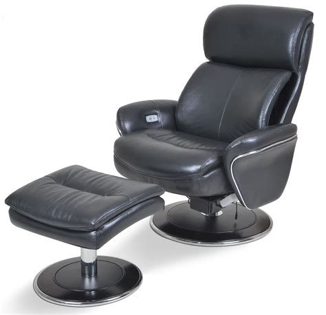big ergonomic leather slate chair ottoman from