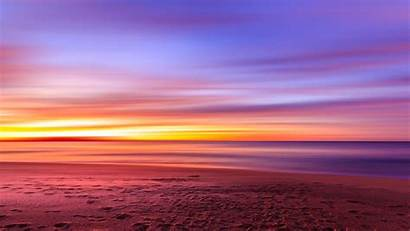 Purple Sunset Sky Beach Footprints Sand Resolution