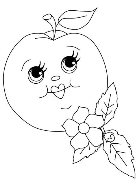 cartoon apple  faces coloring food  face coloring