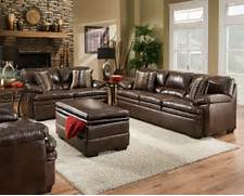 Living Room Set Furniture by Brown Bonded Leather Sofa Set Casual Living Room Furniture W Accent Pillows