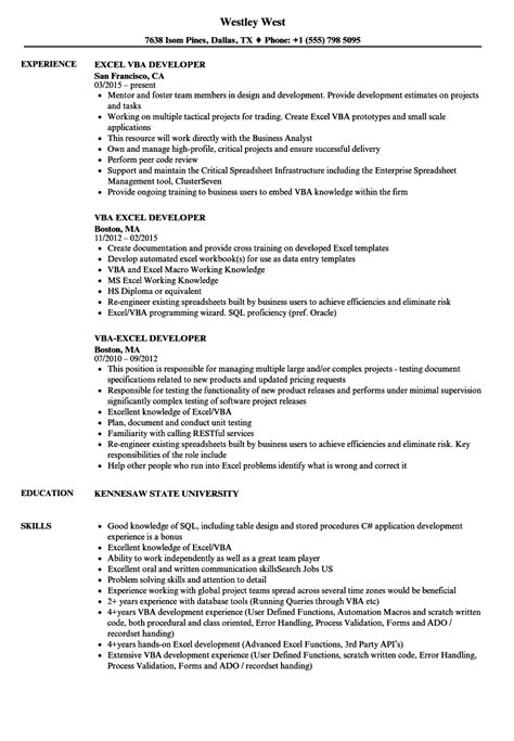 Exle Of Resumes For by Excel Vba Developer Resume Sles Velvet