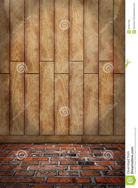 Indoor Background, Brown Wood Wall, Red Brick Floor Stock