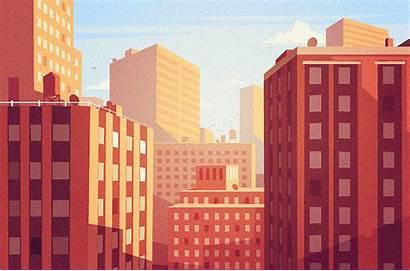 Vector Building Illustration Behance Landscapes Sunset Background
