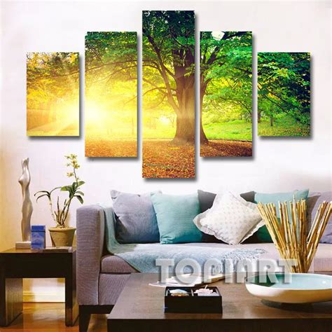 5 panel wall decor landscape canvas painting morning sunshine in green tree art picture for