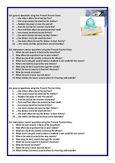 present passive voice questions