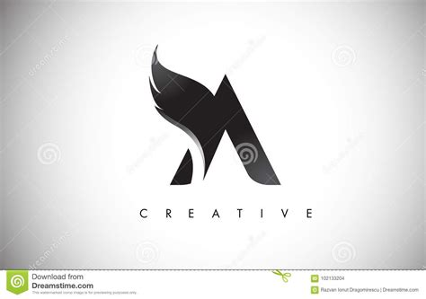 letter wings logo design black bird fly wing icon stock