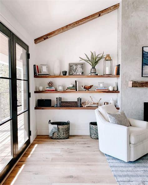 stunning floating shelves  living room decor ideas