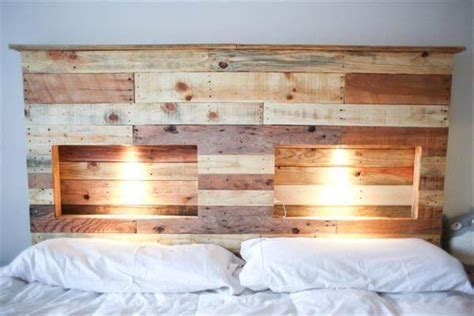 pallet headboard plans diy pallet bed with lights diy and crafts