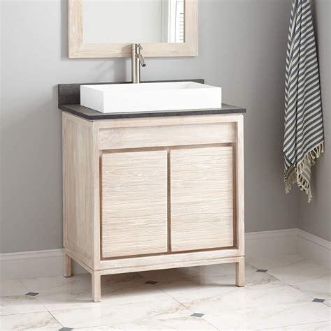 becker teak vessel sink vanity whitewash bathroom