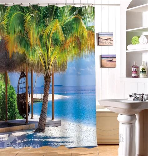 Super Fantastic Relaxing Seaside 3D Shower Curtain beddinginn.com