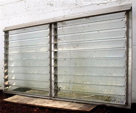 vintage jalousie louver utility window metal glass awning screen shutter etsy
