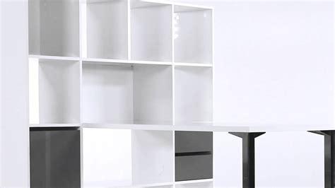 bureau droit blanc avec bibliothèque design minos but