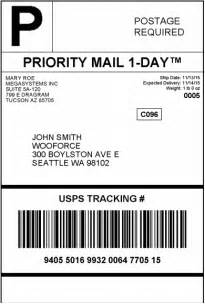 USPS Shipping Label Sample