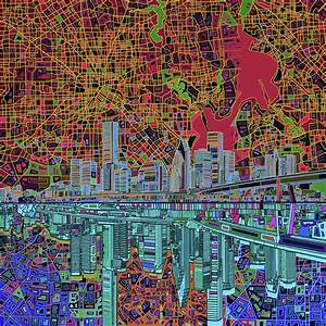 Houston Skyline Abstract 3 Painting by Bekim Art