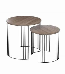 Set De 2 Tables Basse Design Rondes En Bois Et Chrome
