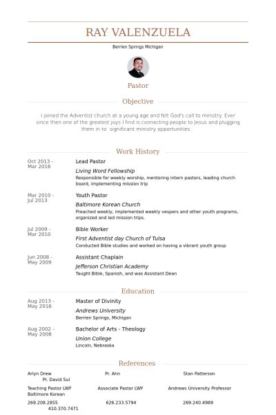 Ministerial Experience Resume by Lead Pastor Resume Sles Visualcv Resume Sles Database