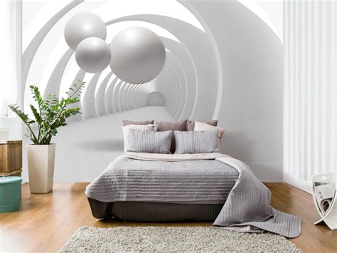 papier peint 4 murs chambre photo wallpaper white tunnel modern abstract wall murals