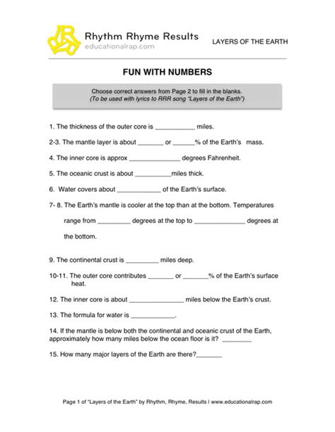 earth s layers worksheet middle school worksheets for all
