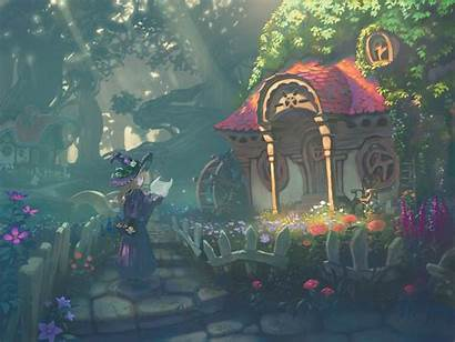 Witch Anime Garden Backgrounds Wizard Wallpapers Pixiv