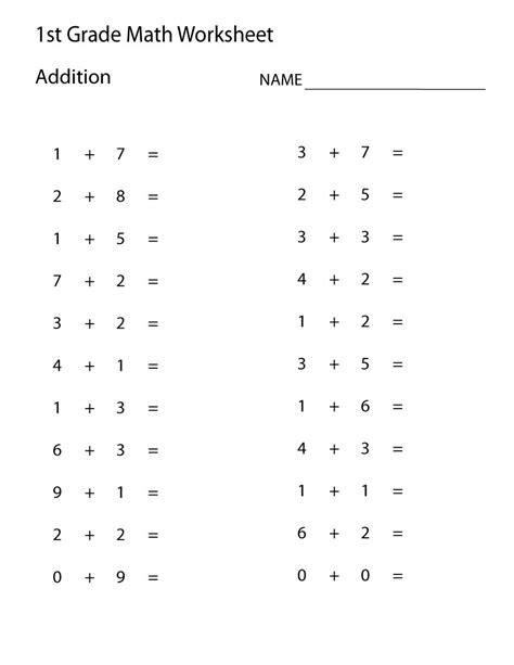 Addition Practice Worksheets First Grade  {download Printable Pdf*}
