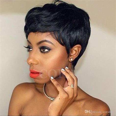 grade  glueless full lace cap wig pixie cut brazilian