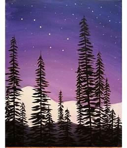 Night, Sky, Pine, Trees, Beginner, Painting