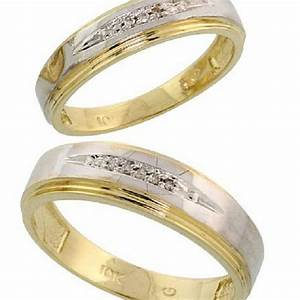 buy 10k yellow gold diamond wedding rings set for him and With gold wedding rings for him and her