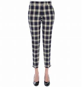 Pantalon cigarette femme a carreaux ecossais en coton stretch for Pantalon carreaux ecossais