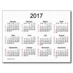2017 Calendar with Weeks