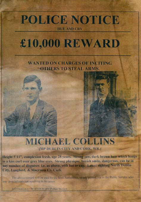Unusual Michael Collins 'Wanted' poster dating back to ...