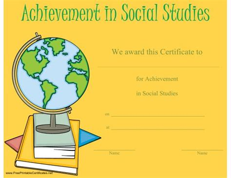 This Certificate Honoring Achievement In Social Studies Features A Globe On A Stack Of Books