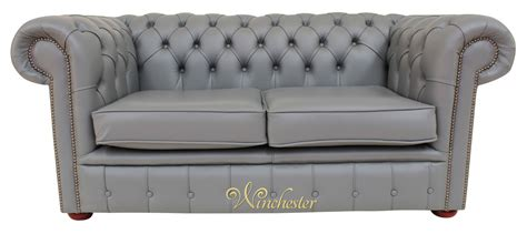 Grey Leather Settee by Chesterfield 2 Seater Sofa Settee Vele Iron Grey Leather