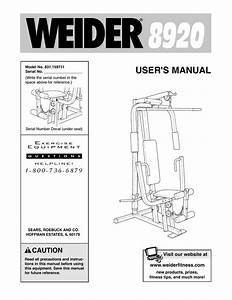 Weider 8920 Home Gym User Manual