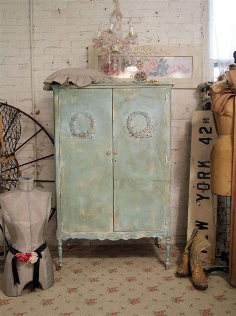vintage painted cottage shabby aqua chic armoire am216
