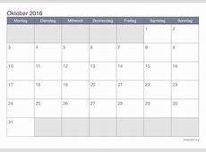 Kalender Oktober 2016 zum Ausdrucken iKalenderorg