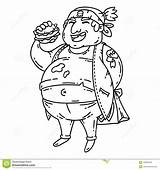 Fat Coloring Cartoon Obese Objects Character Burger Isolated sketch template