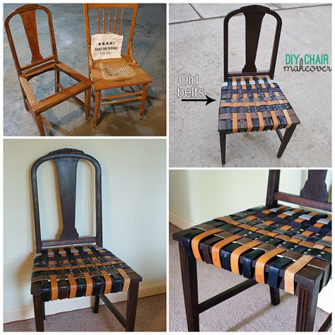 reuse belts for a chair makeover at savedbyloves
