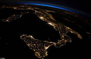 International Space Station's image of Italy at night ...