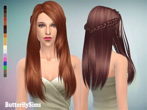 Update Hair Style 2019 : Long Hair 136 With Braids (pay) At Butterfly Sims » Sims 4