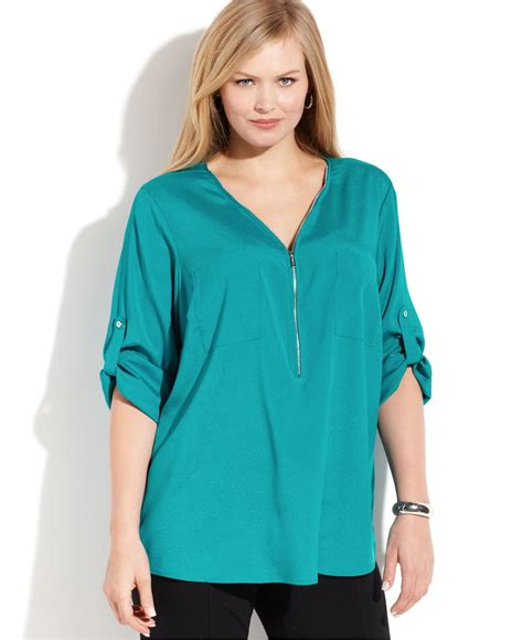 klein blouses calvin klein plus size roll tab sleeve zip front blouse in